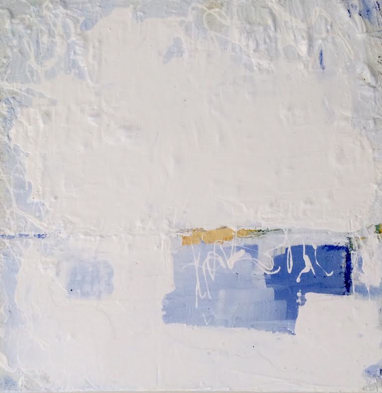 Mixed-media artwork Abstract with Blue by Sarah Trundle