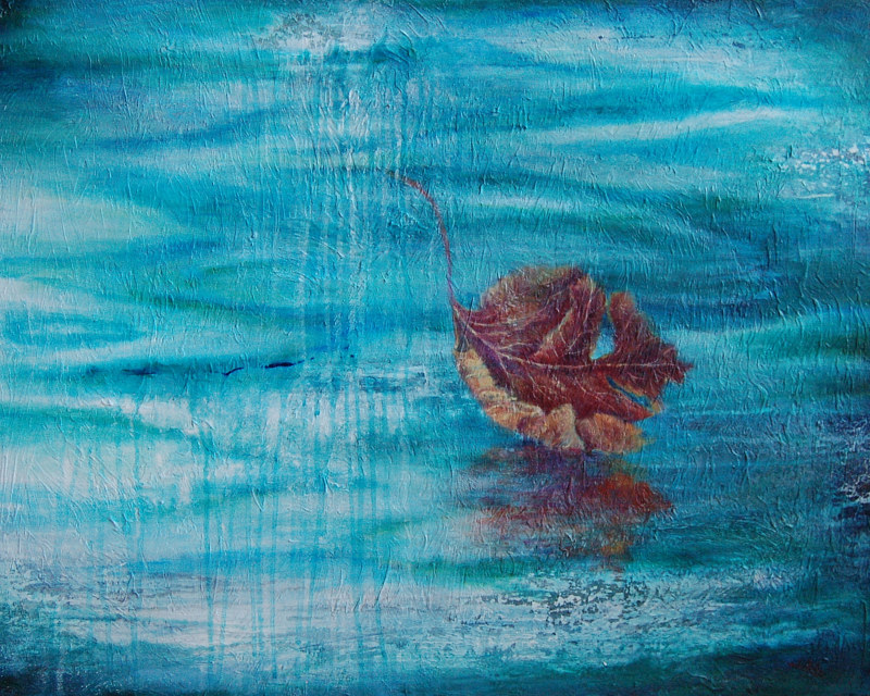 Acrylic painting Story of the Leaf II by Liba Labik