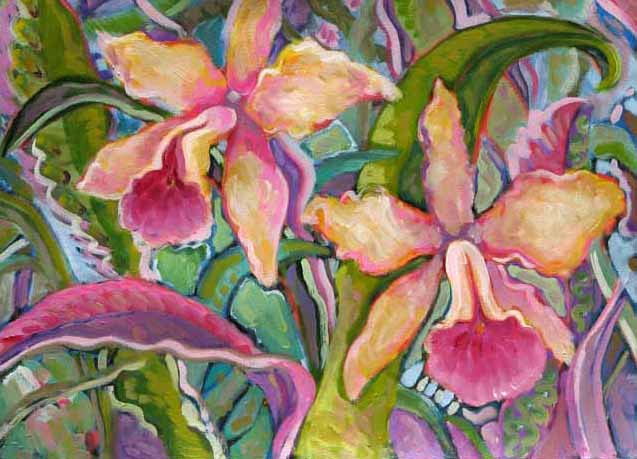 Acrylic painting orchid hawaii by Diana Lynn