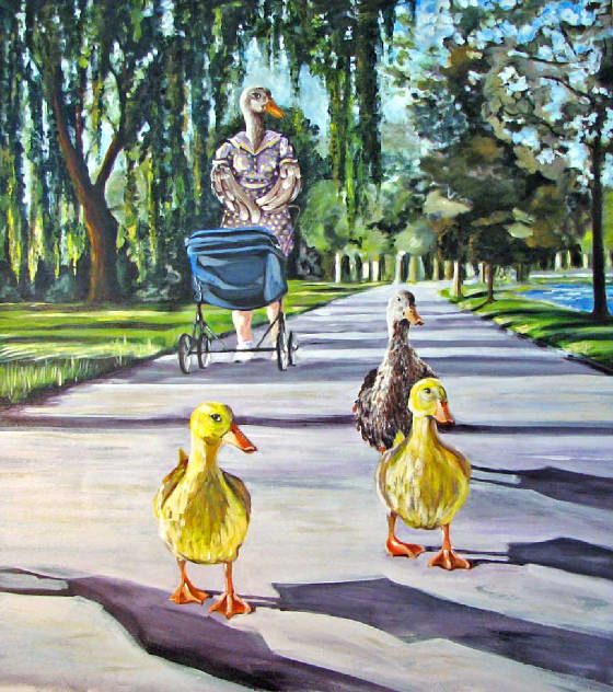 Acrylic painting duck moms by Diana Lynn