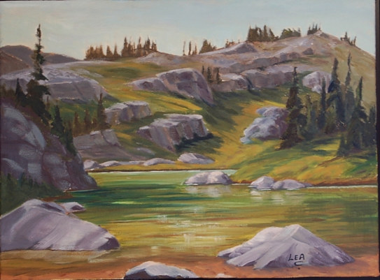 Oil painting Sambouka Pond - Golden Mountain Holidays by Cecilia Lea