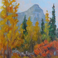 Oil painting Aspen Glow and Ha Ling Peak, Canmore by Cecilia Lea