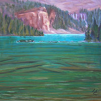 Oil painting Touch of Sun - Lake O'Hara - Yoho National Park by Cecilia Lea