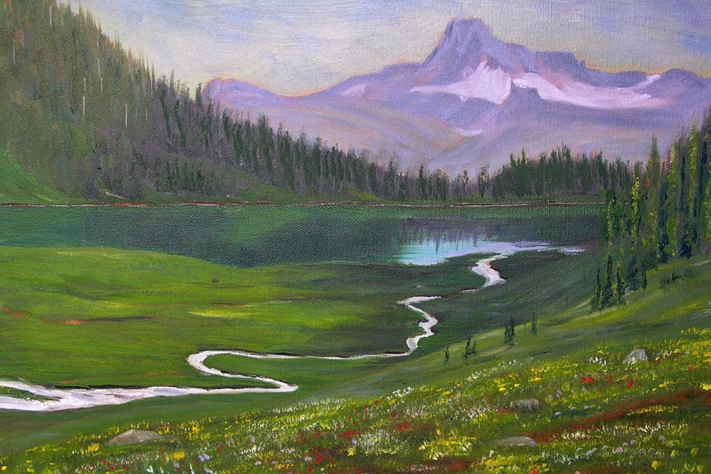 Oil painting  Flower Carpet to Schuss Lake by Cecilia Lea