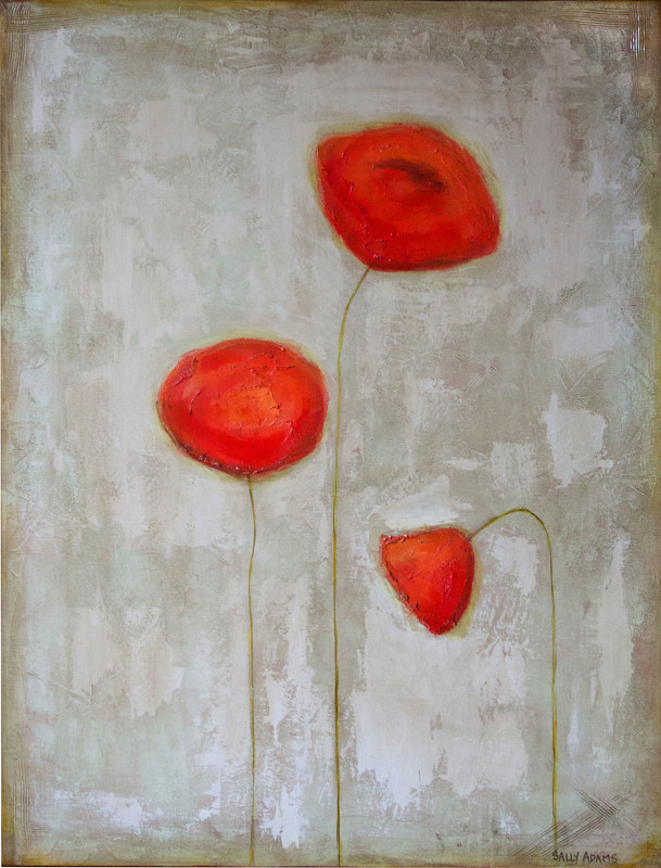 Acrylic painting Poppy Trio I by Sally Adams