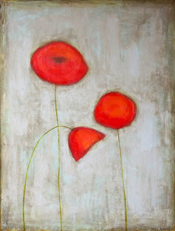Acrylic painting Poppy Trio II by Sally Adams