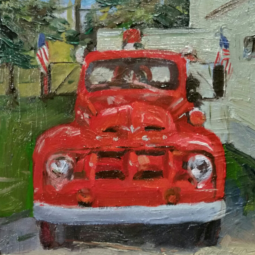Firehouse donation 10x10in oil  by Michael  Gaudreau
