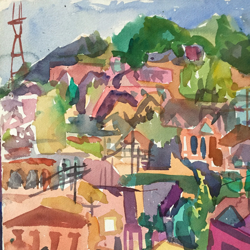 Watercolor Twin Peaks, San francisco by Michael Shyka