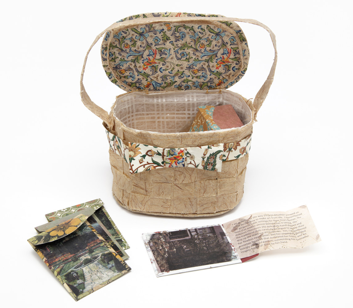 Gardener's Basket (open) with Seed Packages, Paper, Thread, Lithographs & Glue, 10 Envelopes: 11 x 8 cm by Julie Mcintyre
