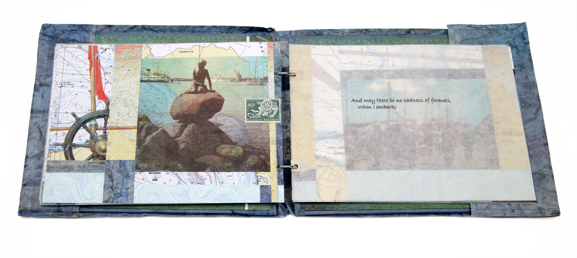 Nautical Log Book, Lithography, gel transfers, collage, assorted papers, glue, thread and 2 metal rings, Size (open 47 x 22 x 2 cm, 16 pages, November 2013.  by Julie Mcintyre