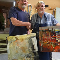 Acrylic painting Brian Ateyo, the great Canadian acrylic impressionist and teacher by Brian  Buckrell