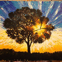 Acrylic painting sun burst by Jeffrey Newman