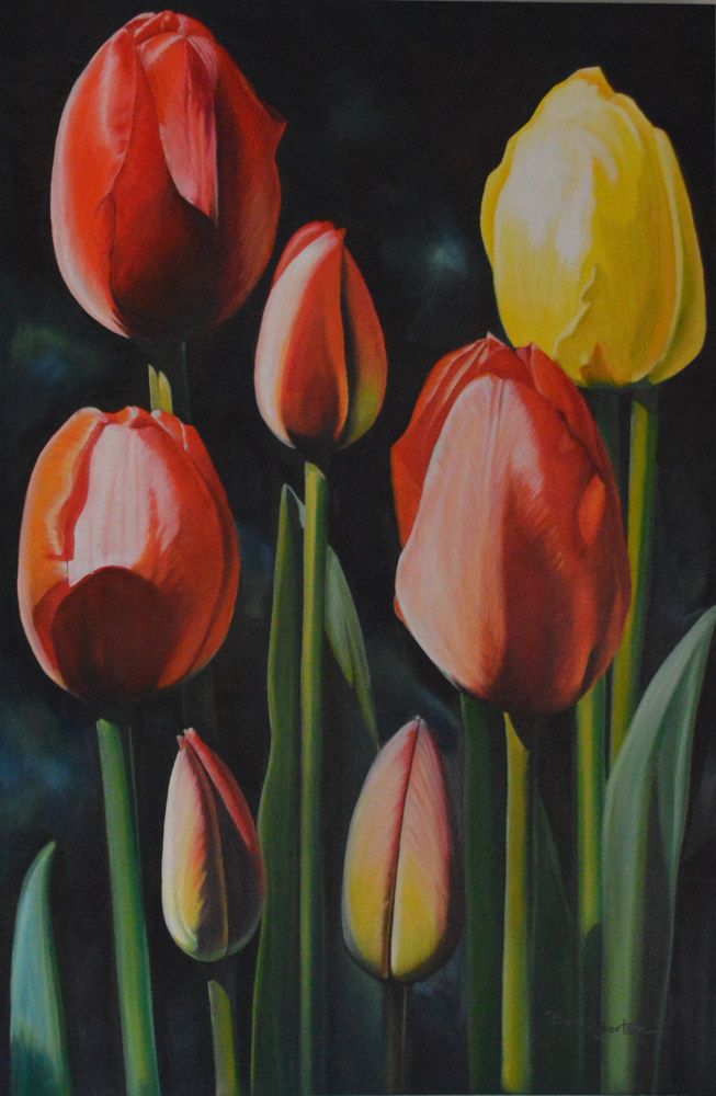 Oil painting On a Bright Spring Day  by Bev Robertson