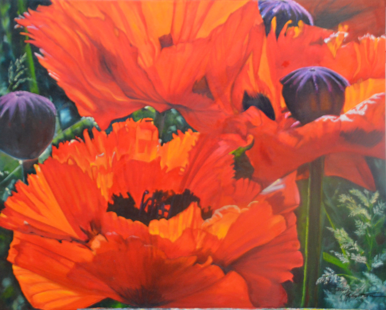 Oil painting Poppies in the Grass by Bev Robertson