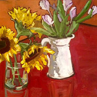 Oil painting Sunflowers by Sarah Trundle