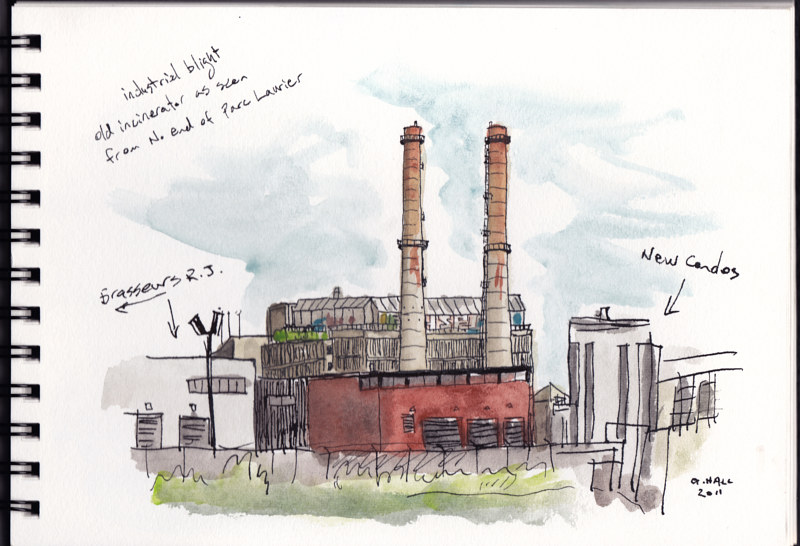 Drawing Incinerator, N. of Parc Laurier by Graham Hall