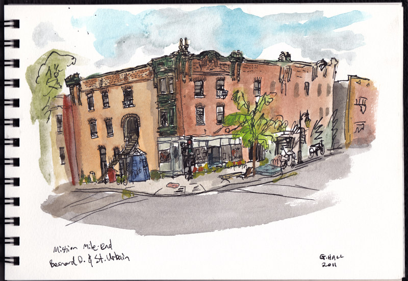 Drawing Bernard and St. Urbain, Mission Mile-End by Graham Hall