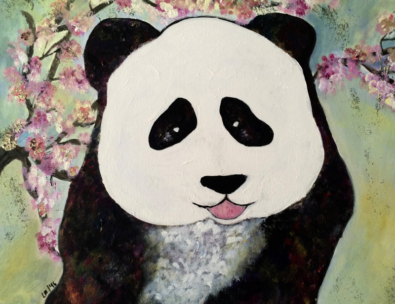 Mixed-media artwork Giant Panda by Laura Munteanu