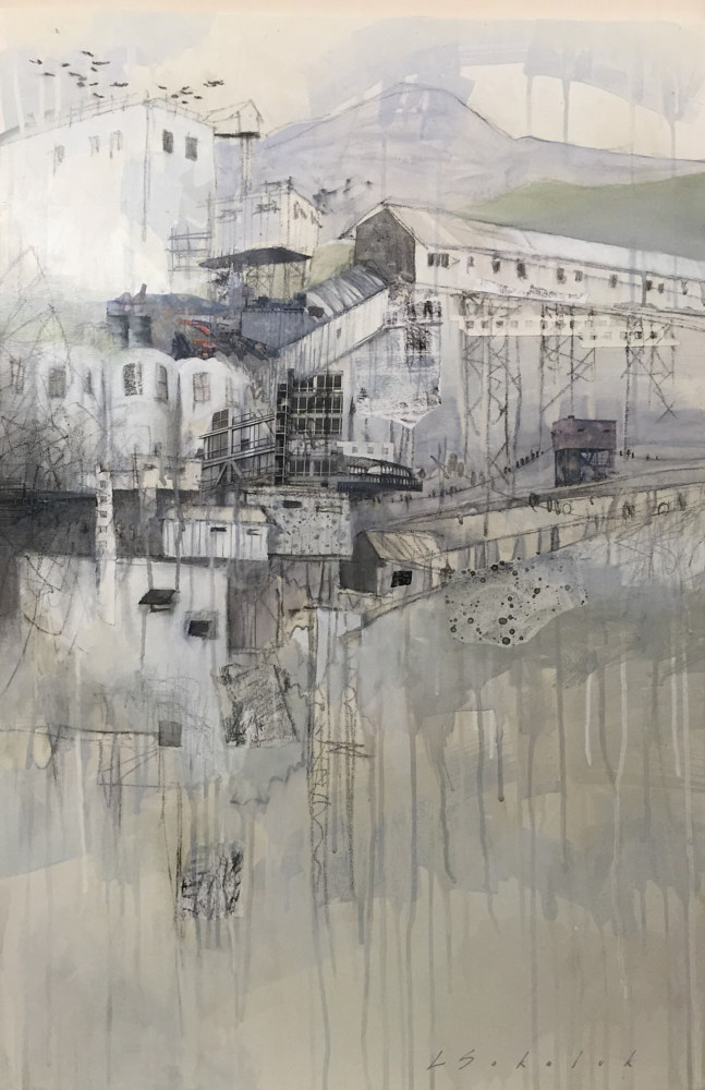 Mixed-media artwork PortTown 2 by Lori Sokoluk