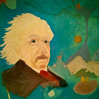 Oil painting  Einstein    1980 by Patricia Rain Gianneschi
