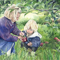 Watercolor Children Picking Apples by Betty Ann  Medeiros