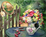 Watercolor Vase of Flowers by Betty Ann  Medeiros