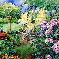 Watercolor Hydrangia Garden by Betty Ann  Medeiros