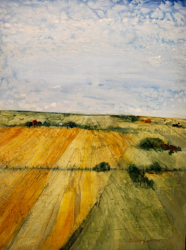 Mixed-media artwork Spring-Farmland by Steve Latimer