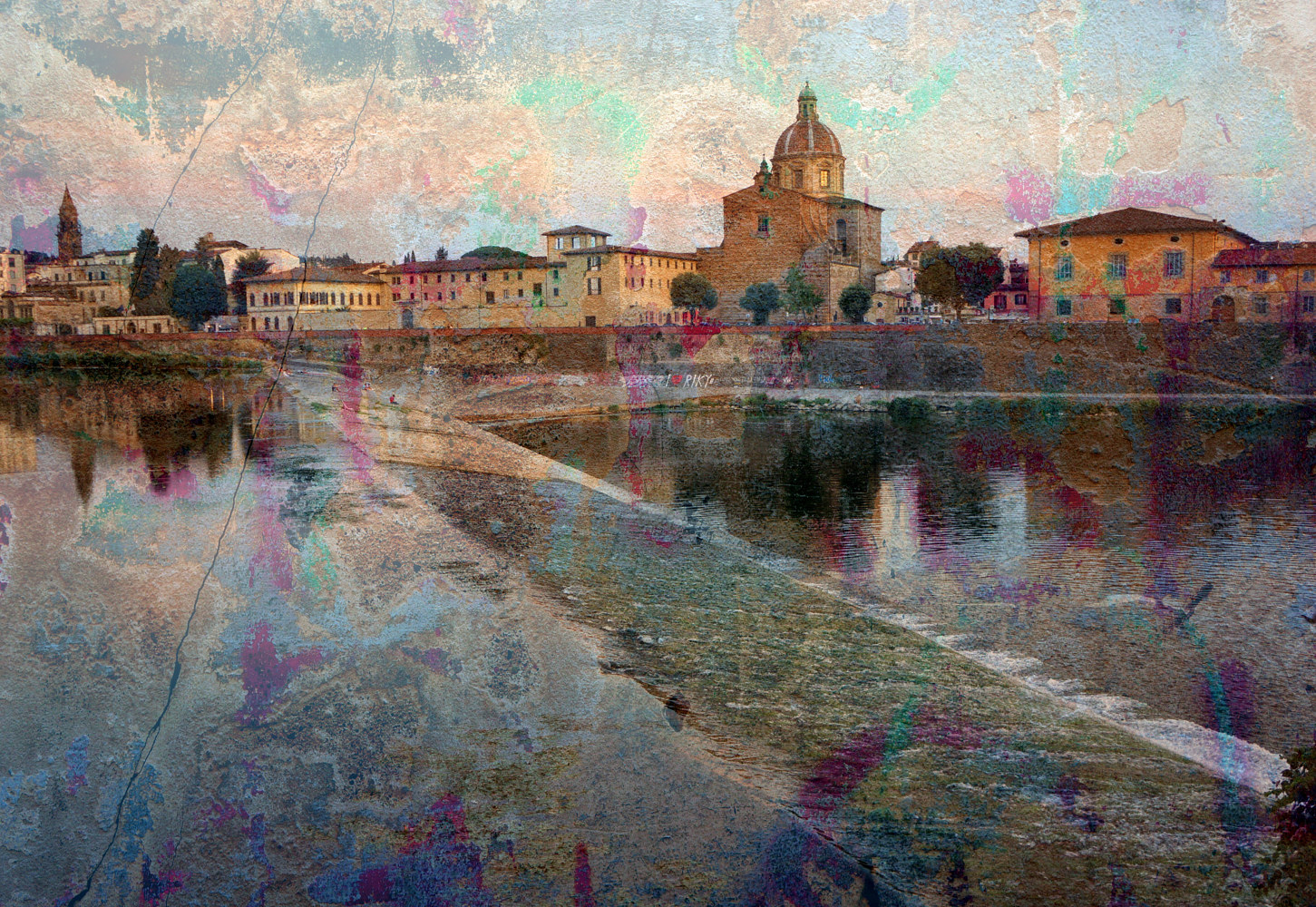 Print Arno River Florence by Linda Richardi