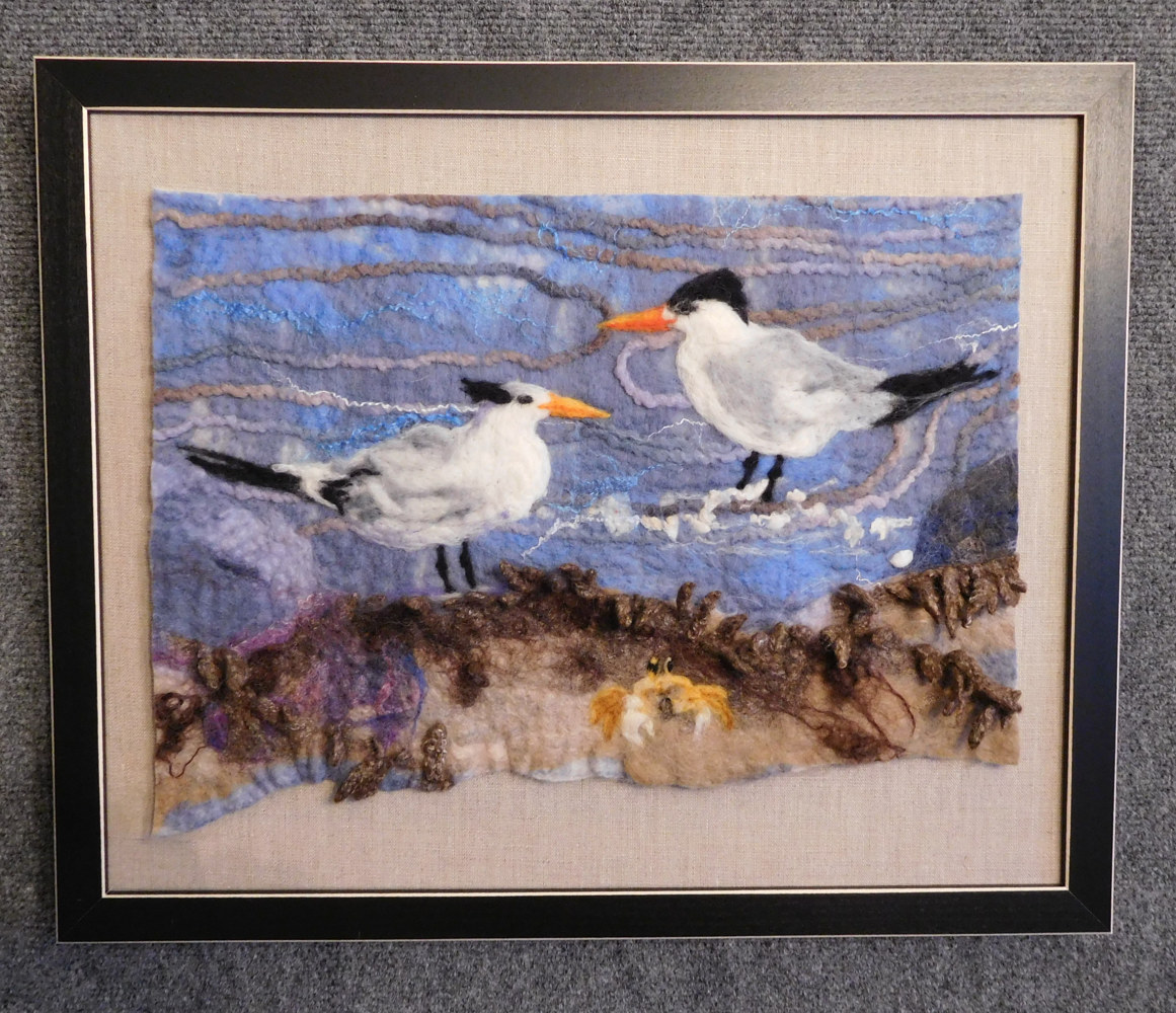 Terns in the Surf by Valerie Johnson