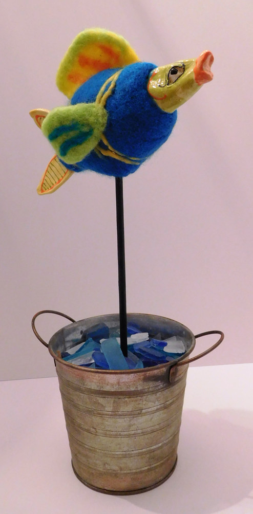 Sculpture Fish in a pot by Valerie Johnson