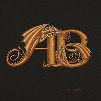 Print Two letter Monogram, horizontal, gold on black by Sue Ellen Brown