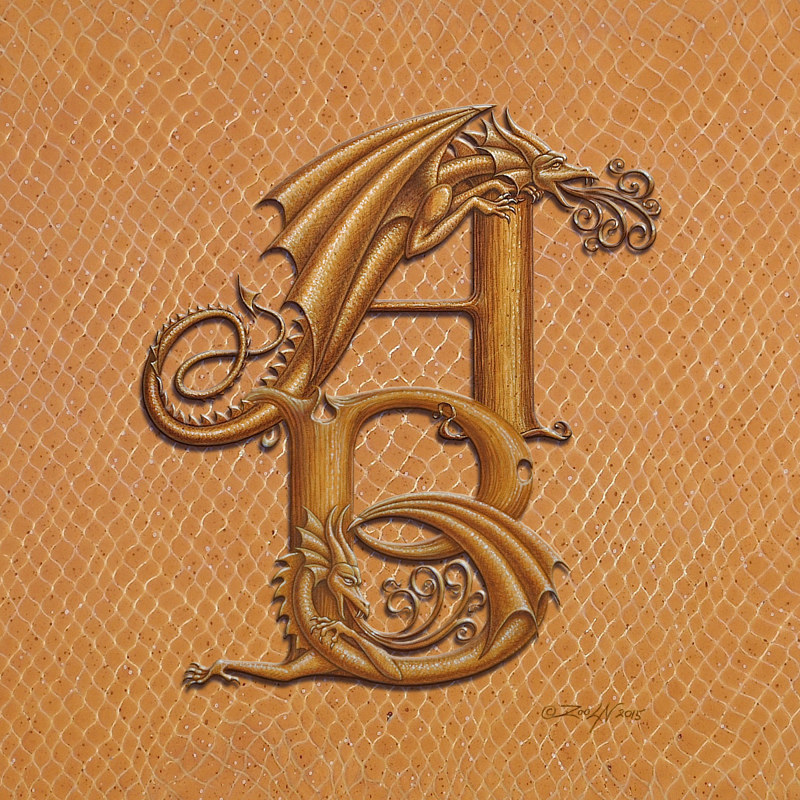 Print Custom Two letter Monogram, vertical, gold on raw gold by Sue Ellen Brown