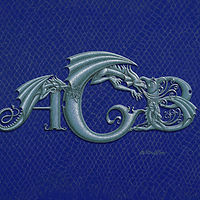 Print Custom 3 letter Monogram, horizontal, silver on blue by Sue Ellen Brown