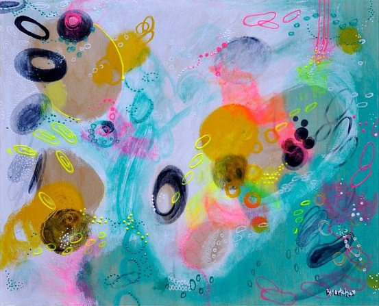 Acrylic painting Abstract with Neon by Barb Martel
