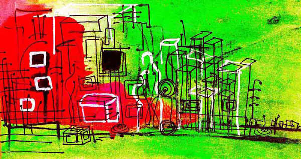cityscape sketch by Barb Martel