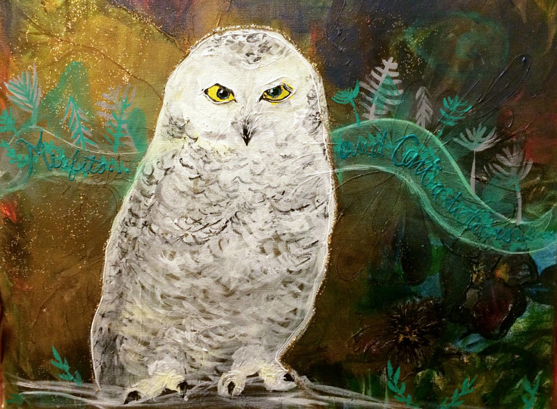 Acrylic painting Misfits and Contradictions: Winter,North Vancouver Snowy Owl (after Klee) by Darcy Martel