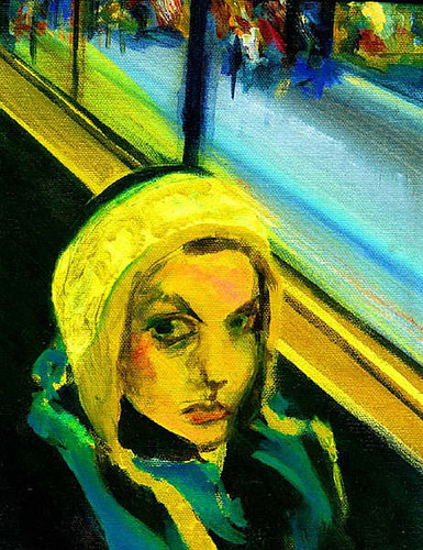 Acrylic painting Self Portrait (on bus) by Barb Martel