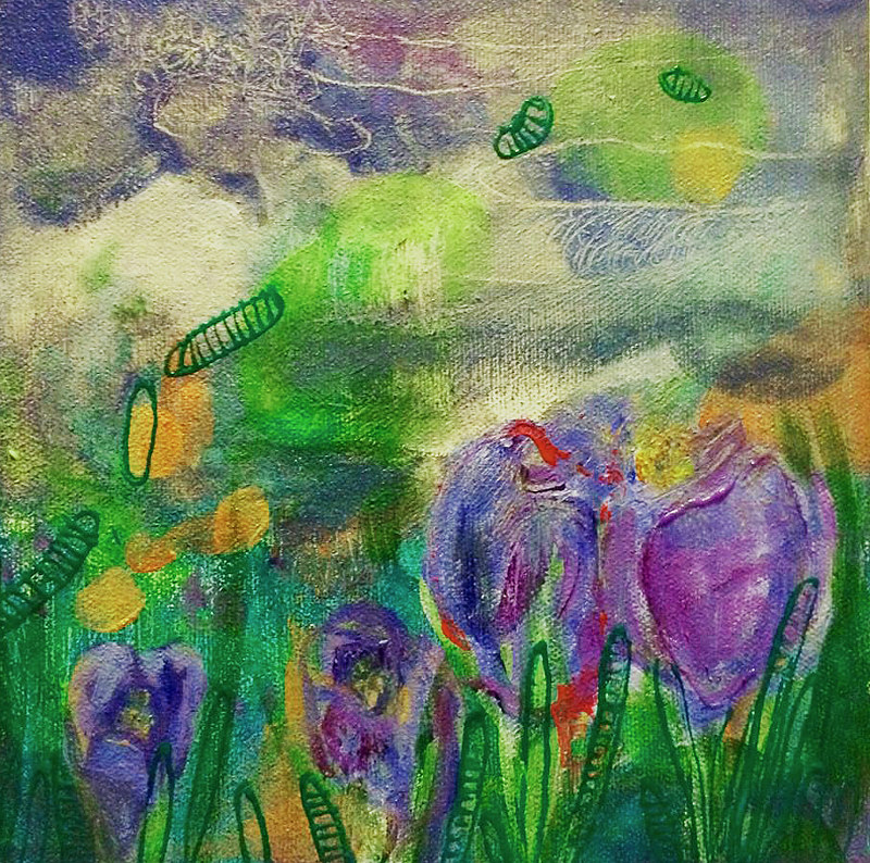 Acrylic painting Spring Flowers by Darcy Martel
