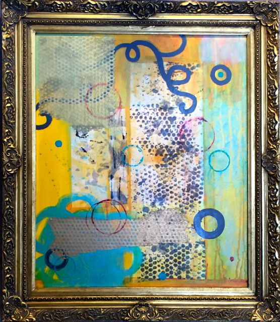 Acrylic painting Bubble Up, framed by Allyson Malek