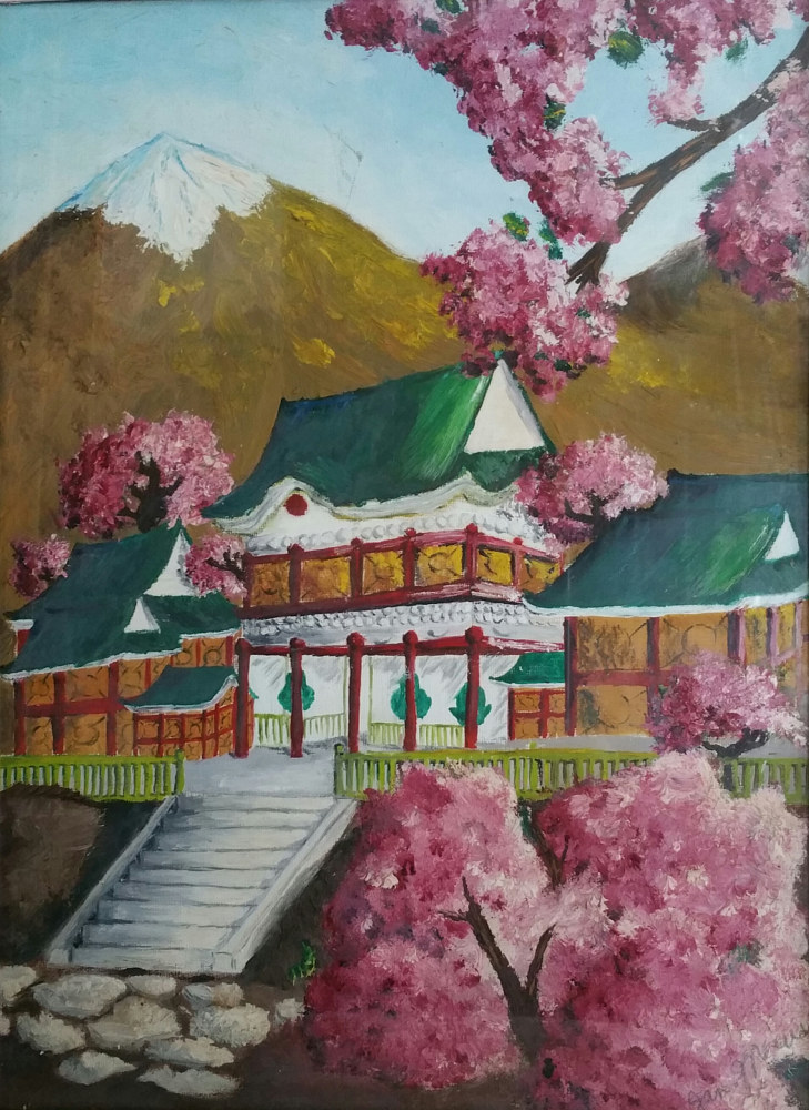 Acrylic painting Pagoda by Jan Wirth