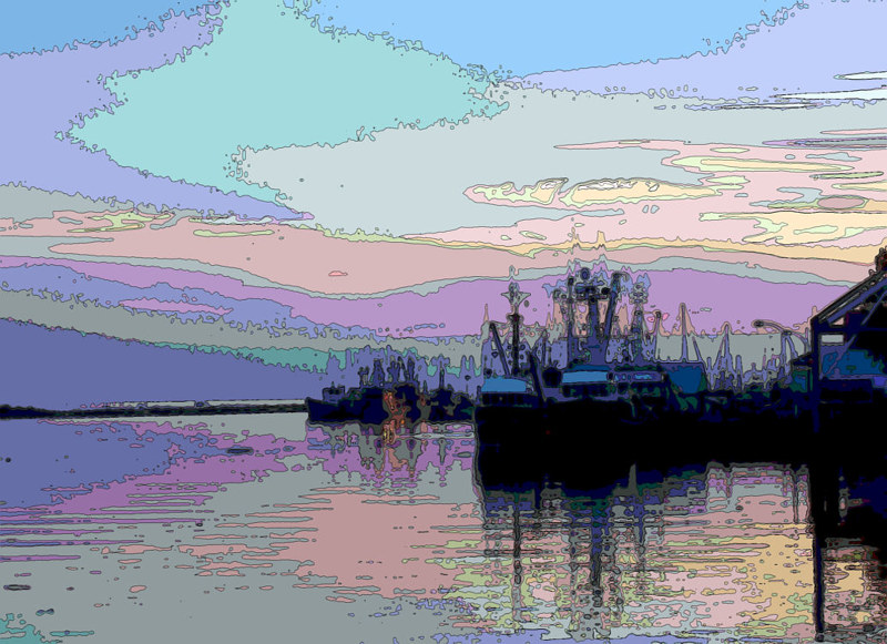 sunset on the boats contour by Bill Campbell