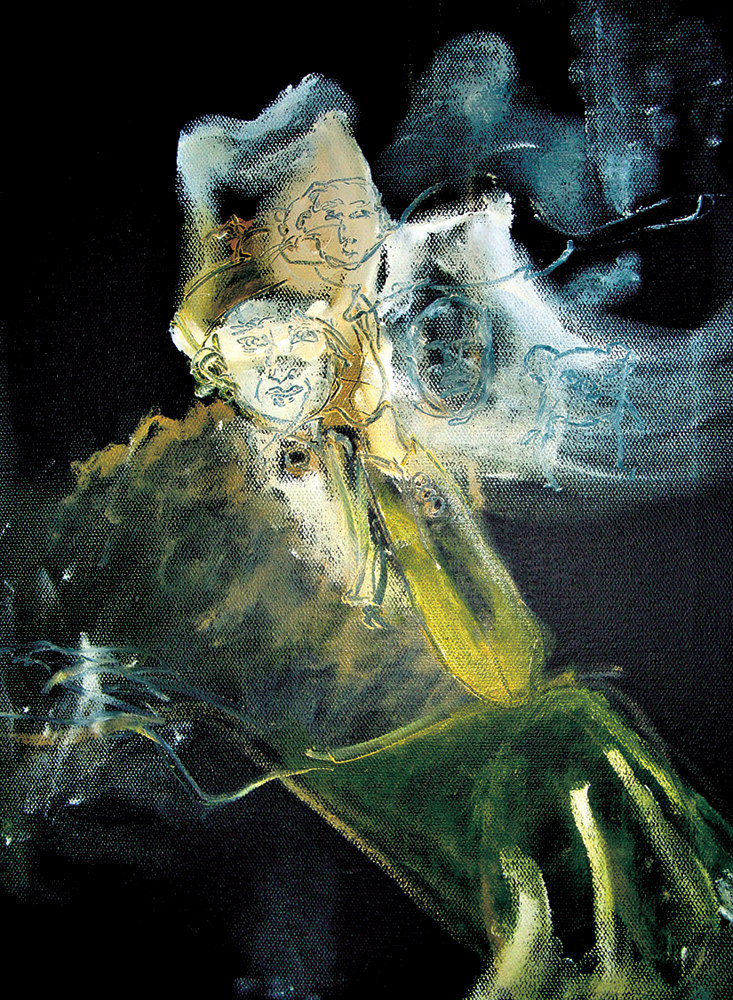 Oil painting The Ghost of Hannah Arendt   by Barb Martel