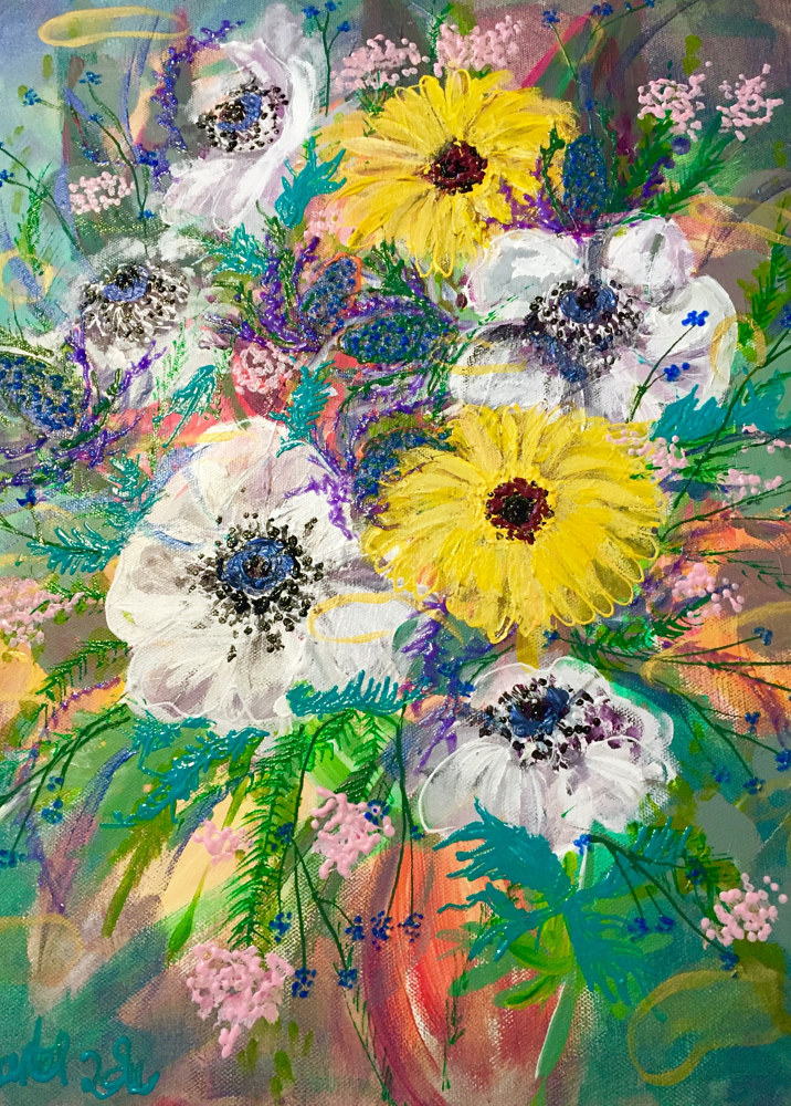 Acrylic painting Birthday Spring Flowers from Gregory by Barb Martel