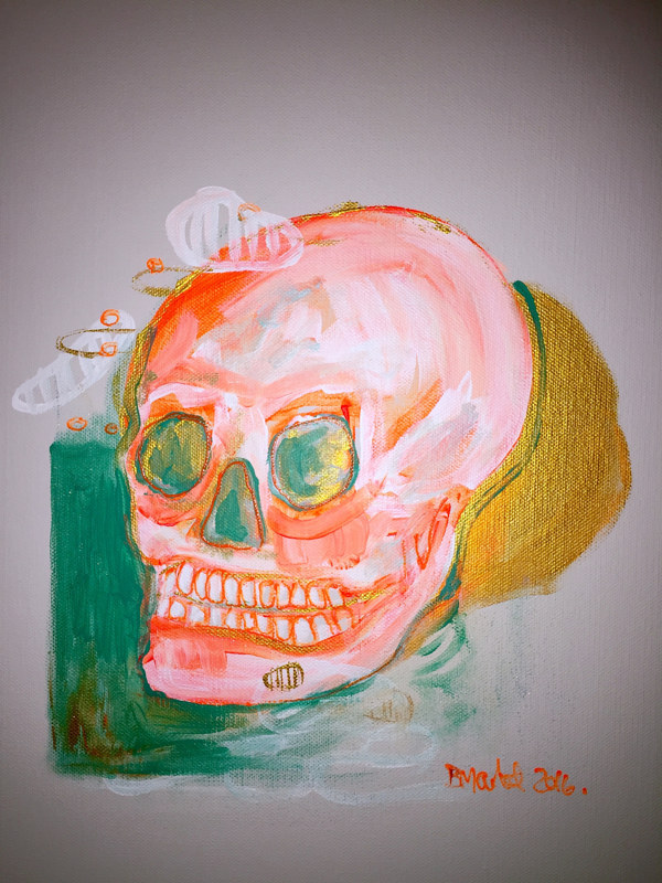 Acrylic painting Skull (after Van Gogh) by Darcy Martel