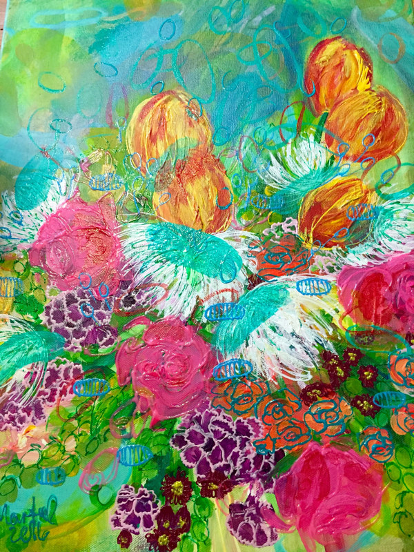 Acrylic painting Birthday Spring Flowers from Mom by Darcy Martel