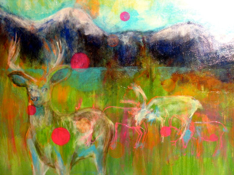 Acrylic painting Oh Deer by Barb Martel