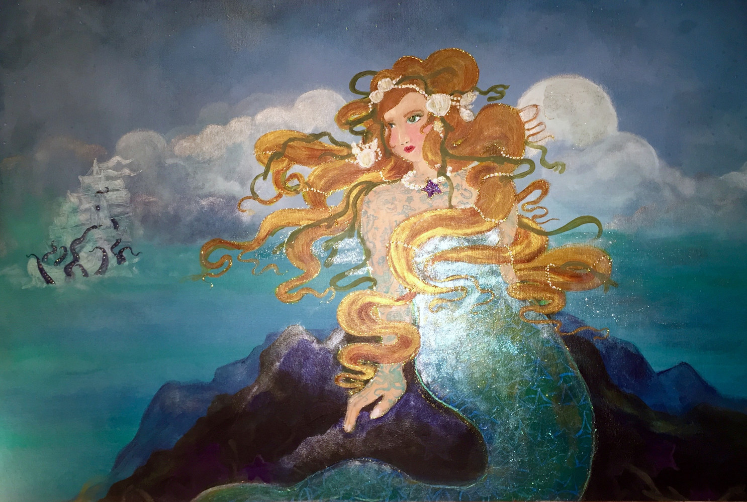 Acrylic painting Mermaid with Kraken and Ghost Ship by Barb Martel