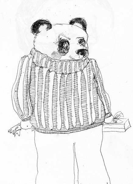 panda in a sweater by Darcy Martel