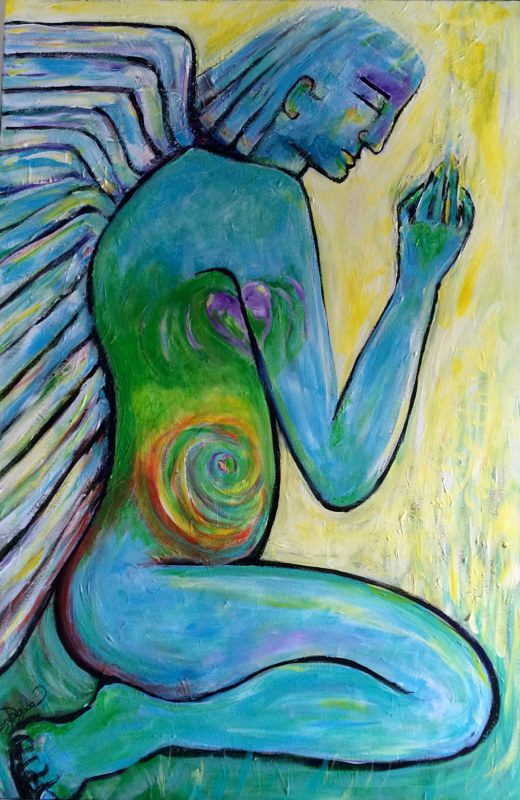 Acrylic painting Do Angels Pray? by Karen Brodeur